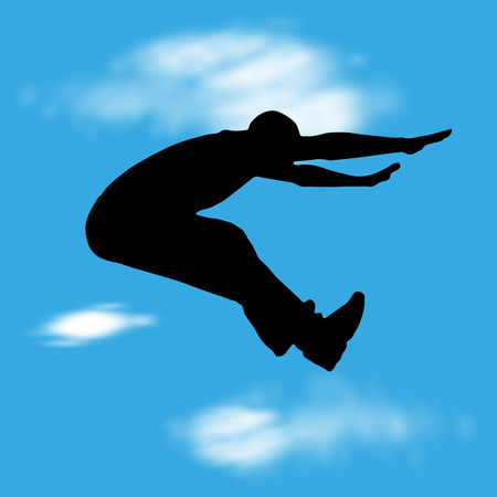 Vector illustration with silhouette of man jump