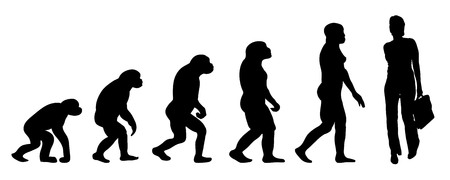case history: Vector evolution business silhouette on white background Illustration