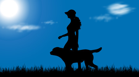 obedience: Vector silhouette of woman with dog at garden.