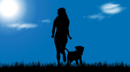 Vector silhouette of girl who run with dog in grass.