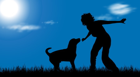 Vector silhouette of woman with dog at garden.
