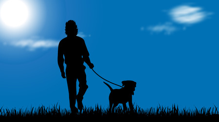 Vector silhouette of man with dog at garden.