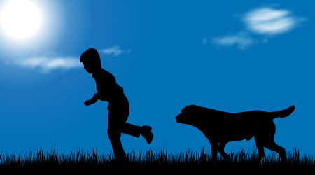 animated boy: Vector silhouette of boy with dog on white background.