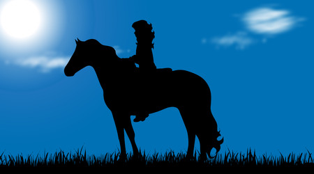 Vector silhouette of child with horse on a meadow.