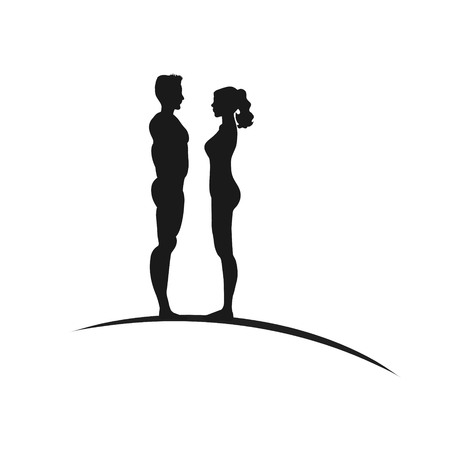 sexy young couple: Vector silhouette of couple on white background. Illustration