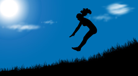 Vector silhouette of girl who jump at sunny day.