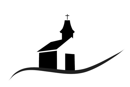 白い背景の上の教会のベクトル シルエット。 写真素材 - 64557251