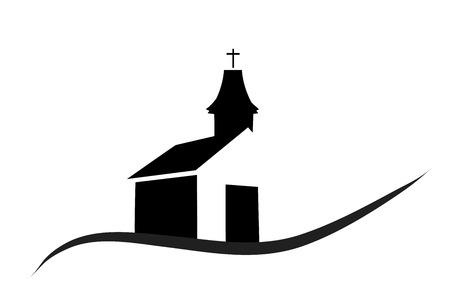 Vector silhouette di una chiesa su uno sfondo bianco.