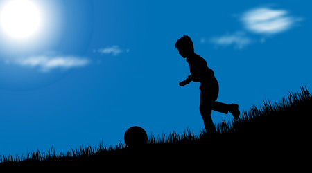 animated boy: Vector silhouette of boy on white background.