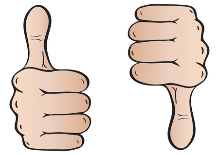 Color vector illustration hand showing perfect and poorly