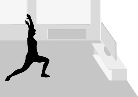 joga: Vector illustration woman sports in the living room