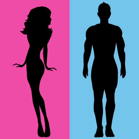women body: Illustration  man and woman on colored background Illustration