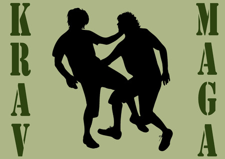 victim war: Vector illustration krav maga with silhouettes of people Illustration