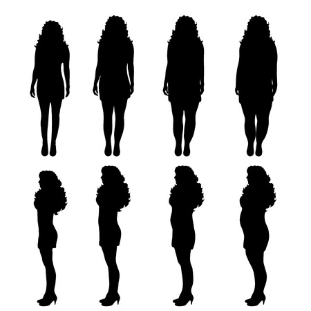 torso: Vector silhouette of woman on white background.