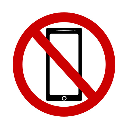 Vector illustration of a ban on the use of mobile phones.