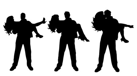 nice body: Vector silhouette of couple on white background. Illustration