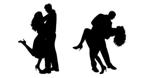 nice body: Vector silhouette of couple who dances on white background.