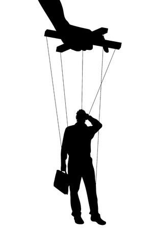 Illustrazione vettoriale sagome uomo di manipolazione di simboli