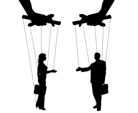 Vector illustration silhouettes man and woman of symbol manipulation Vectores