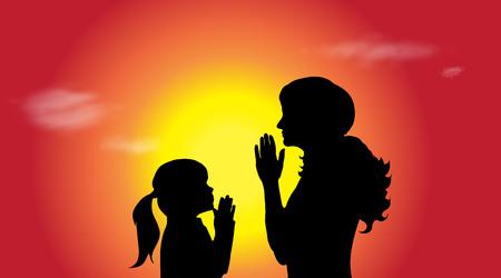 familia animada: Vector silhouette of a family at sunset.
