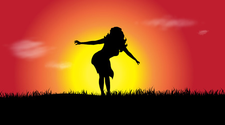 Vector silhouette of a woman at sunset.