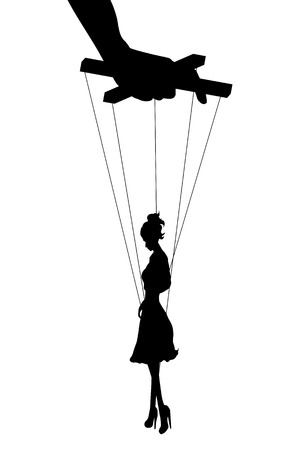 coercion: Vector isolated illustration silhouettes woman of marionette