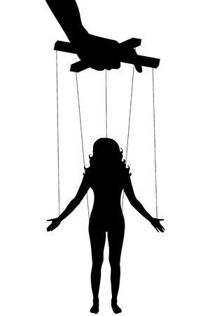 puppeteer: Vector illustration silhouettes woman of symbol manipulation