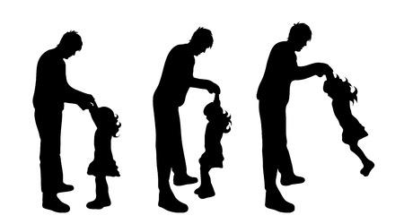 Vector silhouet van de familie op een witte achtergrond.