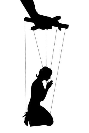 Illustrazione vettoriale sagome donna di manipolazione di simboli Vettoriali