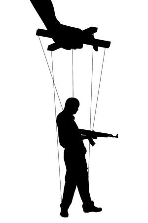 Vector illustration silhouettes man of symbol manipulation