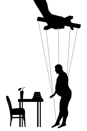 puppeteer: Vector illustration silhouettes fat man of symbol manipulation