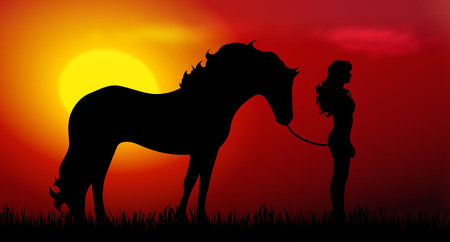 Vector illustration of woman and a horse