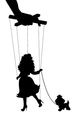 marionette: Vector isolated illustration silhouettes woman of marionette