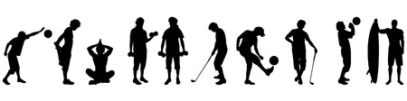 joga: Vector illustration silhouettes of different sport on white background