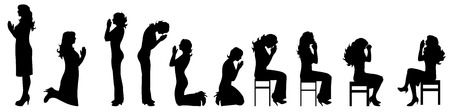 Vector illustration silhouettes of praying people on white background Illustration