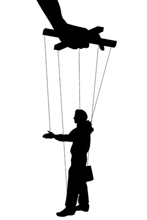 puppeteer: Vector illustration silhouettes man of symbol manipulation