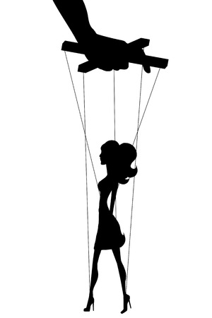 manipulated: Vector isolated illustration silhouettes woman of marionette