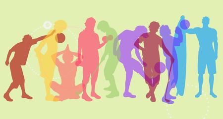 joga: Vector color illustration silhouettes of different sport Illustration