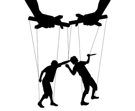Vector illustration silhouettes men of symbol manipulation