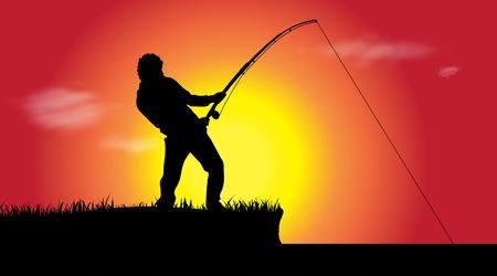 lake sunset: Vector illustration of a fisherman at sunset.