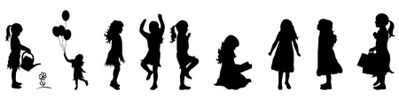 Vector illustration silhouettes of girl on white background
