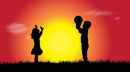 Vector silhouette of a siblings at sunset. Illustration