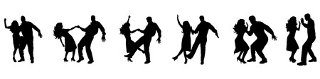 latin american girls: Vector illustration silhouettes of dancing couple on white background Illustration