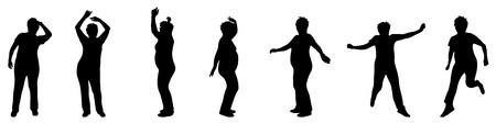 joga: Vector illustration silhouettes elderly woman on white background