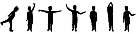 black baby boy: Vector illustration silhouettes of boy on white background
