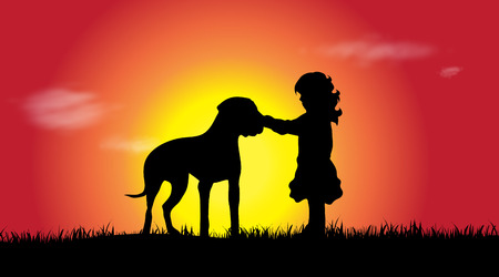 Vector silhouette of a girl with dog at sunset. Illustration