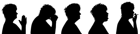 lament: Vector illustration silhouettes elderly woman on white background