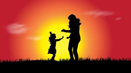 familia animada: Vector silueta de una familia al atardecer. Vectores