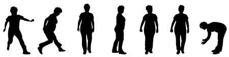 woman walk: Vector illustration silhouettes elderly woman on white background
