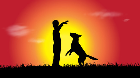 Vector silhouette of a boy with dog at sunset. Çizim